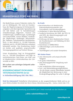 Kodierfachkraft / Dokumetationsassistentin (m/w)