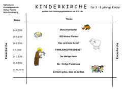 Kinderkirchenplan April bis Oktober