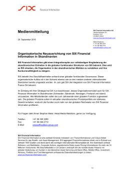 29. Sep 2016 Financial Information Organisatorische