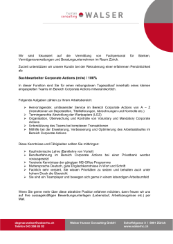 Sachbearbeiter Corporate Actions (m/w) / 100%