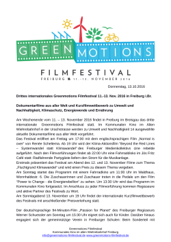 Greenmotions Filmfestival 13.10.2016 Pressemitteilung