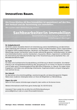 Sachbearbeiter/in Immobilien
