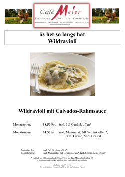 Monats Menu November Wildravioli an Rahmsauce