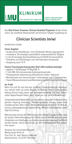 Clinician Scientists (m/w)