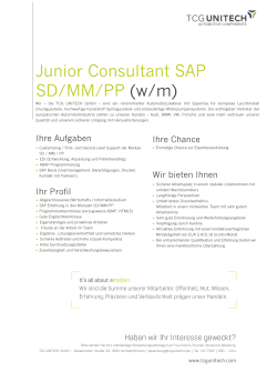 Junior Consultant SAP SD/MM/PP (w/m)