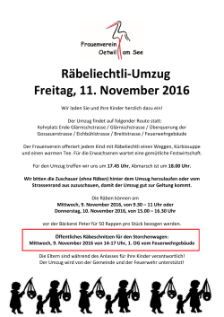 Rabeliechtli Flyer 2016 - Frauenverein Oetwil am See