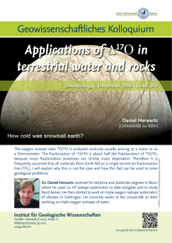 16.15 Uhr Applications of Δ17O in terrestrial water and rocks
