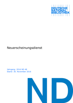 ND - Katalog der Deutschen Nationalbibliothek