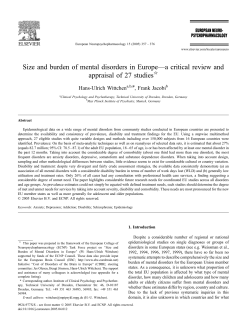 Wittchen HU, Jacobi F. Size and burden of mental disorders in
