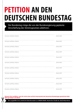 PETITION AN DEN DEUTSCHEN BUNDESTAG