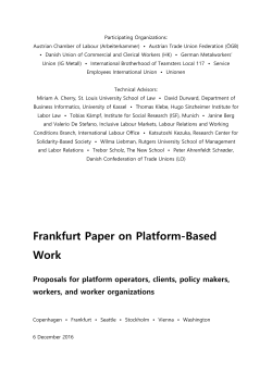 Frankfurt Paper on Platform-Based Work