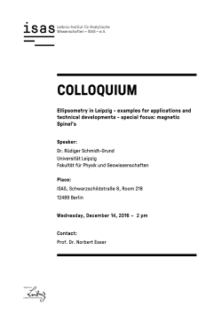 further information of ISAS on this colloquium