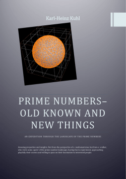 Prime numbers– old known and new stuff - Yapps