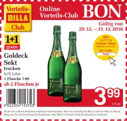 Online Vorteils-Club BON Goldeck Sekt