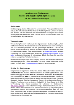 Master of Education (M.Ed.) Philosophie - Georg-August