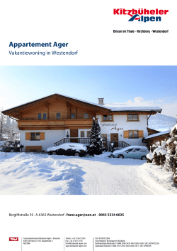 Appartement Ager in Westendorf