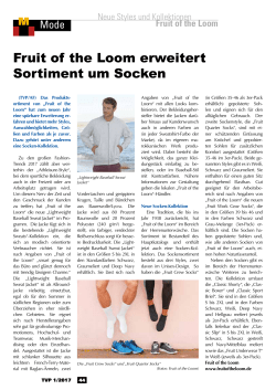 Fruit of the Loom erweitert Sortiment um Socken - TVP