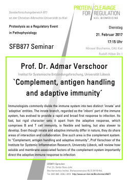 Complement, antigen handling and adaptive immunity
