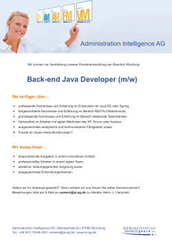 Back-end Java Developer (m/w) - Administration Intelligence AG