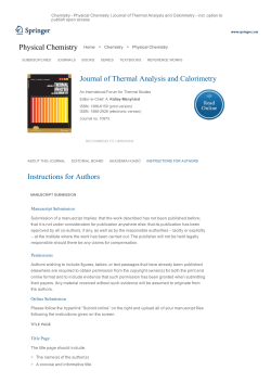 Journal of Thermal Analysis and Calorimetry».