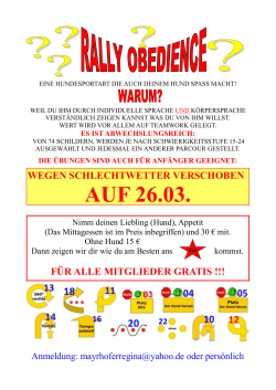 Rally Obedience 19.3.2017 ab 10h am Kursplatz