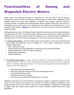 Functionalities of Demag and Magnetek Electric Motors