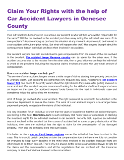 Claim Your Rights with the help of Car Accident Lawyers in Genesee County