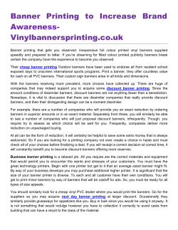 Banner Printing to Increase Brand Awareness- Vinylbannersprinting.co.uk