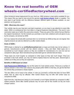Know the real benefits of OEM wheels-certifiedfactorywheel.com