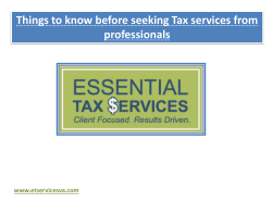 Things to know before seeking Tax services from professionals