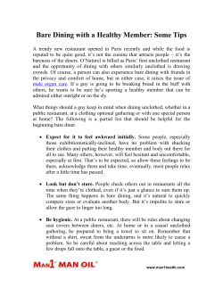 Bare Dining with a Healthy Member: Some Tips