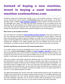 Instead of buying a new machine, invest in buying a used insulation machine-coolmachines.com