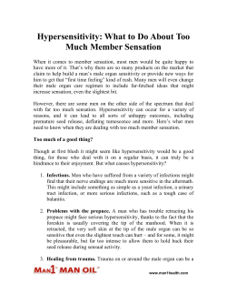 Hypersensitivity: What to Do About Too Much Member Sensation