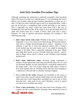 Jock Itch: Sensible Prevention Tips