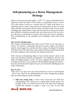 Self-pleasuring as a Stress Management Strategy