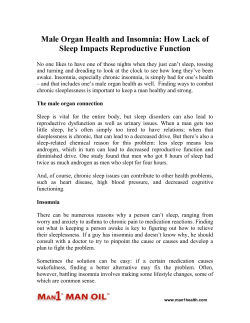 Male Organ Health and Insomnia - How Lack of Sleep Impacts Reproductive Function