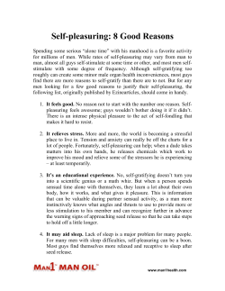 Self-pleasuring - 8 Good Reasons