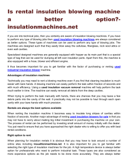 Is rental insulation blowing machine a better option- insulationmachines.net