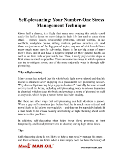 Self-pleasuring - Your Number-One Stress Management Technique