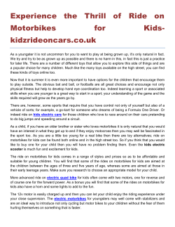 Experience the Thrill of Ride on Motorbikes for Kidskidzrideoncars.co.uk
