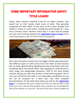 Some Important Information About Title Loans