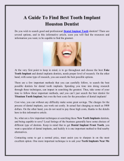 A Guide To Find Best Tooth Implant Houston Dentist