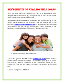 Key benefits of Availing Title Loans!