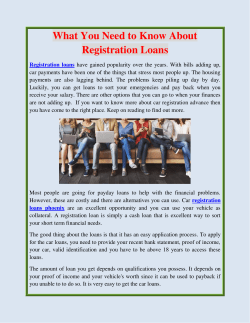 What You Need to Know About Registration Loans