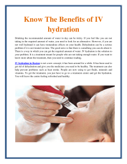 Know the Benefits of IV hydration