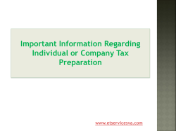 Important Information Regarding Individual or Company Tax Preparation