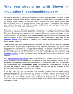 Why you should go with Blown in Insulation- coolmachines.com
