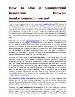How to Use a Commercial Insulation Blower insulationmachines.net