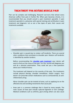 Treatment For Severe Muscle Pain