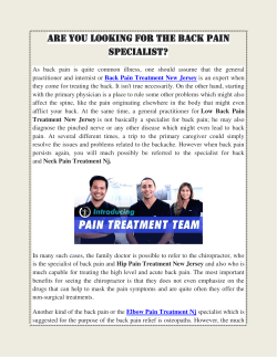 Are you looking for the Back Pain Specialist